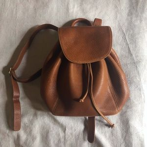 Vintage Coach Pebbled Brown Leather Backpack Purse
